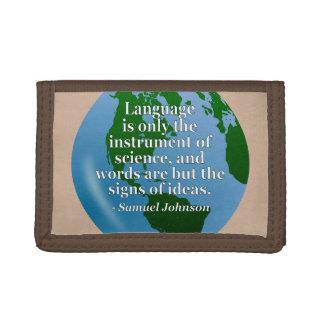 言語楽器科学の引用文。 地球 ナイロン三つ折りウォレット