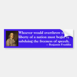 言論の自由のベンジャミン・フランクリンの引用文 バンパーステッカー
