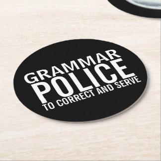 訂正し、役立つ文法警察 ラウンドペーパーコースター