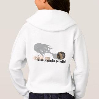 """""""計り難で潜在的な""""女の子のフード付きスウェットシャツのbackprint"""