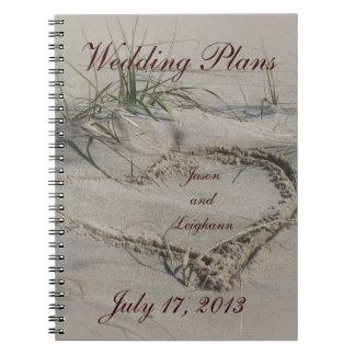 計画のノートを結婚するビーチ及びハート ノートブック