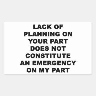 計画の欠乏 長方形シール