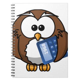 計算機、数学、学生、会計を持つフクロウ、 ノートブック