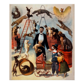 訓練された犬の行為の1899年のサーカスはヴィンテージポスターの後をつけます ポスター