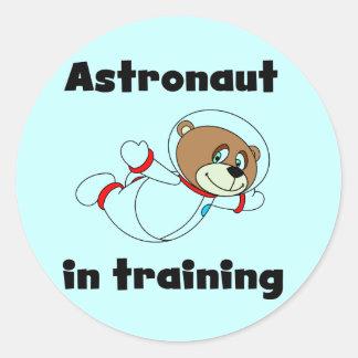 訓練のTシャツおよびギフトのくまの宇宙飛行士 ラウンドシール