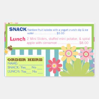 託児所のよくはしゃぐで熱い昼食の順序のステッカー 長方形シール