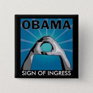 記入項目の進入SIGENのオバマの印 5.1CM 正方形バッジ