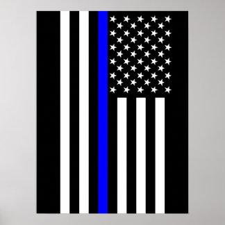 記号による薄いブルーライン米国旗 ポスター