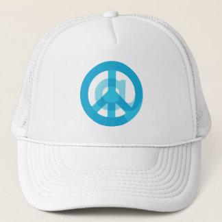 記号のピースサインの青い@Peaceの印の社会的な媒体 キャップ
