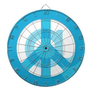 記号のピースサインの青い@Peaceの印の社会的な媒体 ダーツボード