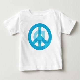 記号のピースサインの青い@Peaceの印の社会的な媒体 ベビーTシャツ