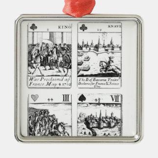 記念するカードを遊ぶこと シルバーカラー正方形オーナメント