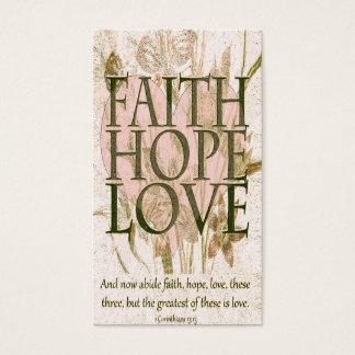 記念カード 信頼、希望および愛 名刺