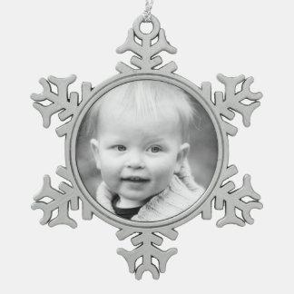 記念品家族のオーナメント-あなたの写真を加えて下さい スノーフレークピューターオーナメント