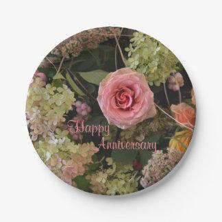 記念日の花花束の紙皿 紙皿 小
