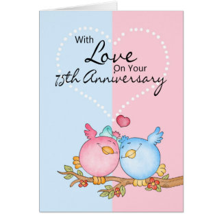 記念日カード-第75記念日愛鳥 グリーティングカード