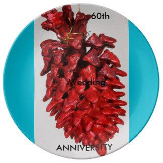 記念日、第60の記念日: 挨拶状 磁器プレート