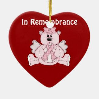 記憶の乳癌の認識度のピンクくま セラミックオーナメント