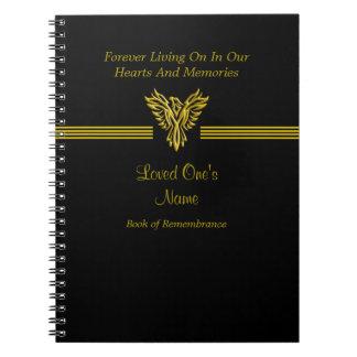 記憶の哀悼の本、金上昇のフェニックス ノートブック