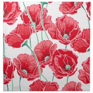 記憶の赤いケシ分野の花柄パターン ナプキンクロス