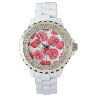 記憶の赤いケシ分野の花柄パターン 腕時計