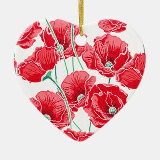 記憶の赤いケシ分野の花柄パターン 陶器製ハート型オーナメント