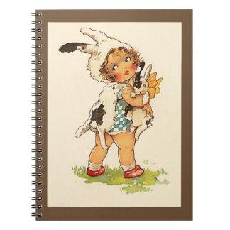 記憶ジャーナル本のヴィンテージの甘いバニーウサギ ノートブック