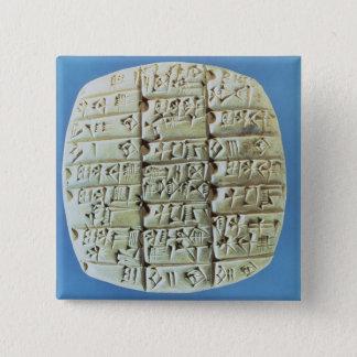 記述は楔形の原稿、c.2400と紀元前に台に置きます(t 5.1cm 正方形バッジ