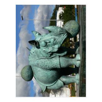 記述: サイの主題: 彫刻の名前 ポストカード