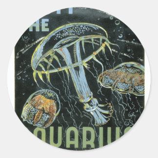 訪問して下さいアクアリウム- WPAポスター-を ラウンドシール