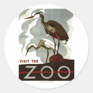 訪問して下さい動物園- WPAポスター-を ラウンドシール
