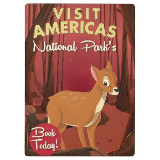 訪問のアメリカ大陸の国立公園のヴィンテージポスター クリップボード