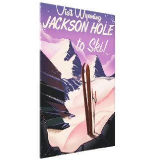 訪問ワイオミング! 旅行スキーをするジャクソンホールポスター キャンバスプリント