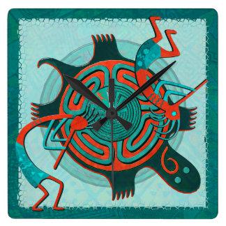 訪問者のAnasaziの原産の民芸 スクエア壁時計