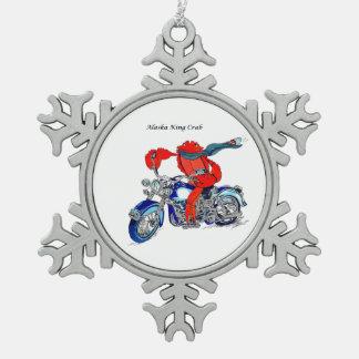 設計されているお洒落なアラスカのタラバガニオートバイ スノーフレークピューターオーナメント