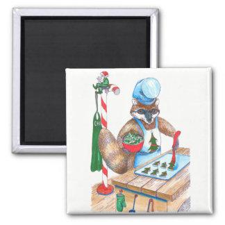 設計されているかわいいクリスマスのアライグマの料理用のシェフ マグネット