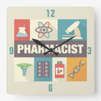 設計されている専門の薬剤師の画像的 スクエア壁時計
