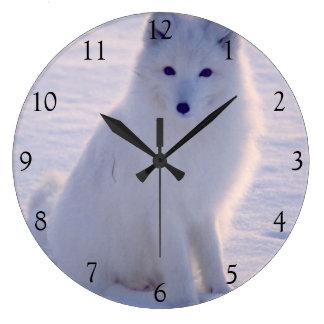 設計されている白いキツネの冬のアラスカの北極写真 ラージ壁時計