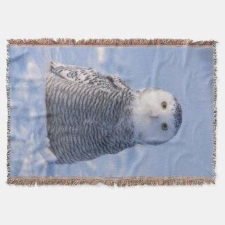 設計されている編まれるかわいい北極Snowyのフクロウの写真 スローブランケット