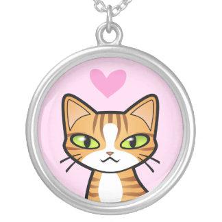 設計して下さいあなた自身の漫画猫(愛ハート)を シルバープレートネックレス