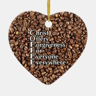 許されるハートのオーナメントのコーヒー豆のキリストの提供 セラミックオーナメント