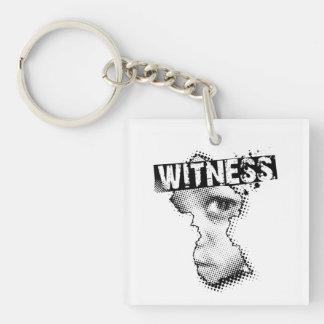 証人のキーホルダーの両面正方形 キーホルダー