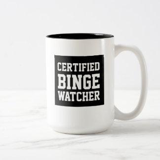 証明されたどんちゃん騒ぎの監視人のおもしろマグカップ ツートーンマグカップ