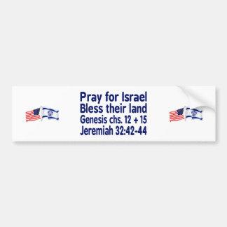 詩のイスラエルの米国旗のバンパーステッカー バンパーステッカー
