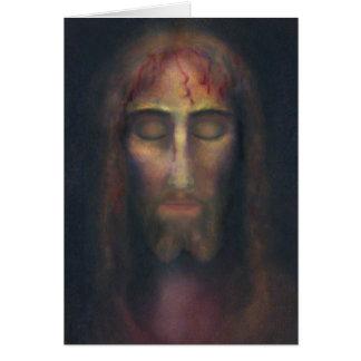 詩を持つキリストの神聖な顔: 共有される悲哀 カード