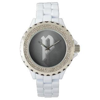 詩人の賭博の腕時計(ユニセックスな) (白、ダイヤモンド) 腕時計