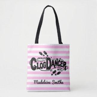 詰る障害物のダンサーのピンクのヴィンテージは|を加えます名前を見ます トートバッグ