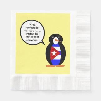 話すキューバの旗のペンギン 縁ありランチョンナプキン