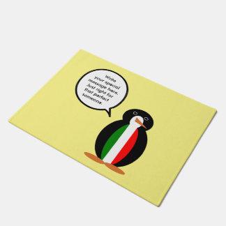 話すペンギンのイタリア人の旗 ドアマット