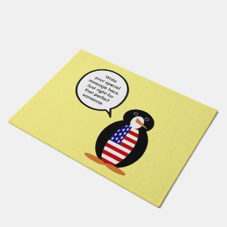 話すペンギン米国の旗 ドアマット